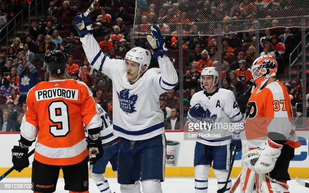 James van Riemsdyk of the Toronto Maple Leafs celebrates his second period powerplay goal against Brian Elliott and Ivan Provorov of the Philadelphia...