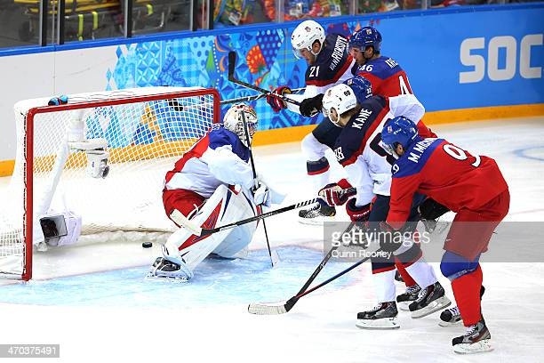 James van Riemsdyk of the United States scores a goal in the first period against Ondrej Pavelec of the Czech Republic during the Men's Ice Hockey...