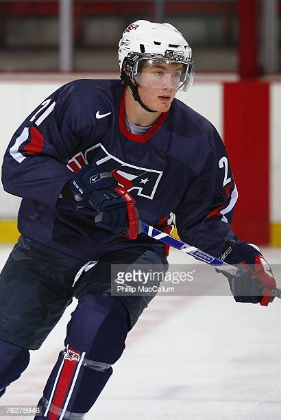 James vanRiemsdyk of Team USA Blue skates against Team Sweden during an exhibition game on August 8, 2007 at the 1980 Rink Herb Brooks Arena in Lake...