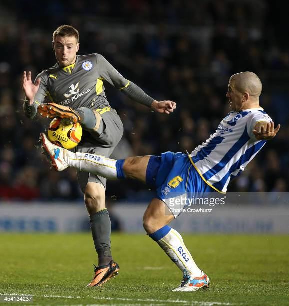 James Vardy of Leicester battles with Adam El Abd of Brighton during the Sky Bet Championship match between Brighton and Hove Albion and Leicester...
