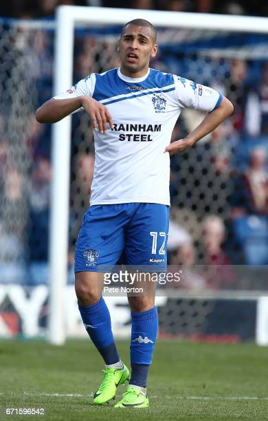 James Vaughan of Bury in action during the Sky Bet League One match between Bury and Northampton Town at Gigg Lane on April 22 2017 in Bury England
