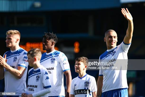 James Vaughan of Bury waves to fans during the Sky Bet League One match between Bury and Fleetwood Town at Gigg Lane on March 25 2017 in Bury England