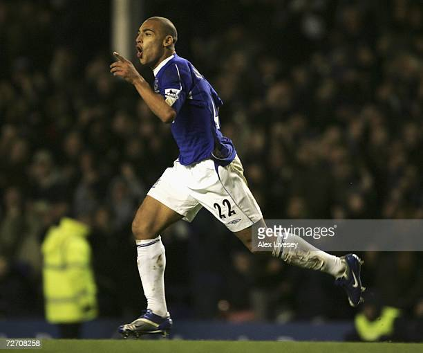 James Vaughan of Everton celebrates scoring his team's second goal during the Barclays Premiership match between Everton and West Ham United at...