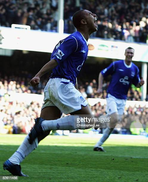 James Vaughan of Everton celebrates scoring their fourth goal on his debut during the Barclays Premiership match between Everton and Crystal Palace...
