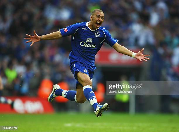 James Vaughan of Everton celebrates victory in the penalty shoot out during the FA Cup sponsored by EON Semi Final match between Everton and...