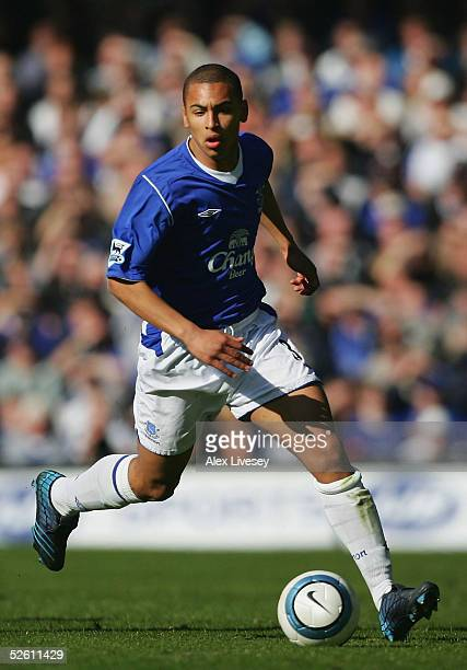 James Vaughan of Everton, who made his debut as the youngest player in the history of the club, in action during the Barclays Premiership match...