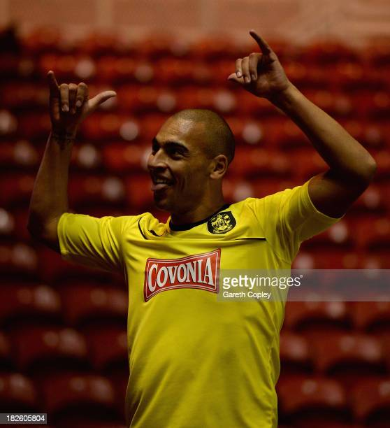 James Vaughan of Huddersfield celebrates after scoring the opening goal during the Sky Bet Championship match between Middlesbrough and Huddersfield...