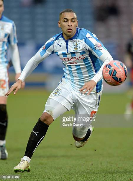 James Vaughan of Huddersfield during the FA Cup Third Round match between Huddersfield Town and Reading at Galpharm Stadium on January 3 2015 in...