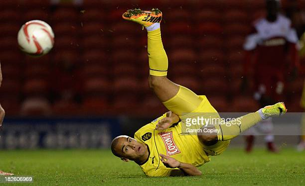 James Vaughan of Huddersfield miss ques a overhead kick during the Sky Bet Championship match between Middlesbrough and Huddersfield Town at...