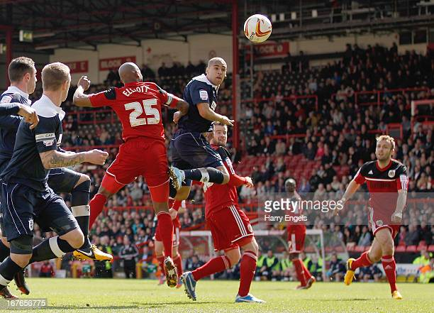 James Vaughan of Huddersfield Town heads the ball to score his second goal during the npower Championship match between Bristol City and Huddersfield...