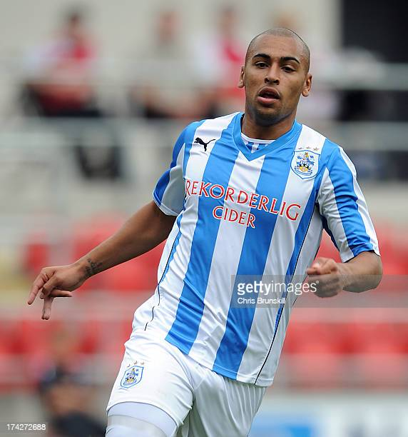 James Vaughan of Huddersfield Town in action during the pre season friendly match between Rotherham United and Huddersfield Town at The New York...