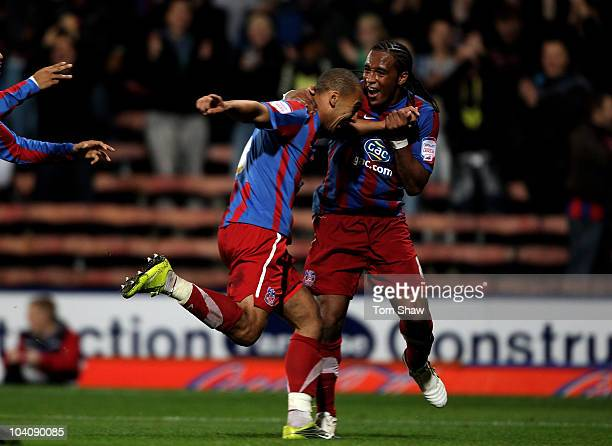 James Vaughan of Palace celebrates scoring his hattrick with Neil Danns of Palace during the npower Championship match between Crystal Palace and...