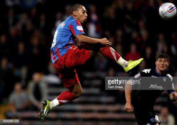 James Vaughan of Palace scores the third goal of his hat trick during the npower Championship match between Crystal Palace and Portsmouth at Selhurst...