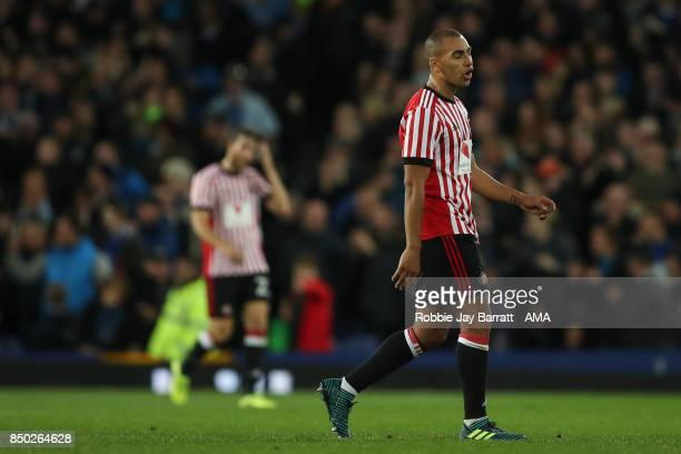James Vaughan of Sunderland dejected after conceding to make it 30 during the Carabao Cup Third Round match between Everton and Sunderland at...