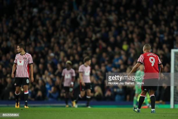 James Vaughan of Sunderland reacts after conceding during the Carabao Cup Third Round match between Everton and Sunderland at Goodison Park on...