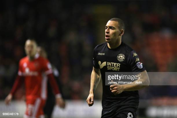 James Vaughan of Wigan Athletic during the Sky Bet League One match between Wigan Athletic and Walsall at Banks' Stadium on March 23 2018 in Walsall...