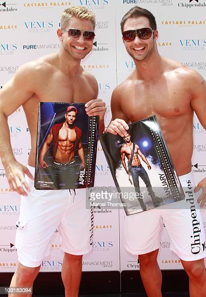 James Vaughn and James Davis attend the debut of the Chippendales 2010/2011 calendar at Venus Pool Club on July 31 2010 in Las Vegas Nevada