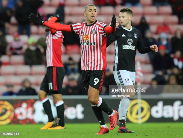 James Vaughn appeals for a free kick during the Sky Bet Championship match between Sunderland and Fulham at Stadium of Light on December 16 2017 in...