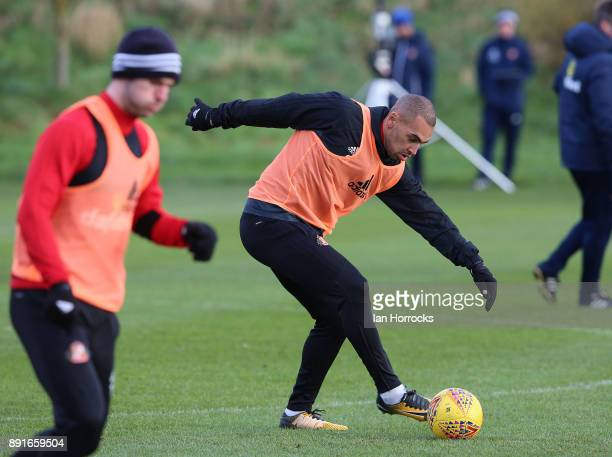 James Vaughn during a Sunderland training session at The Academy of Light on December 13 2017 in Sunderland England