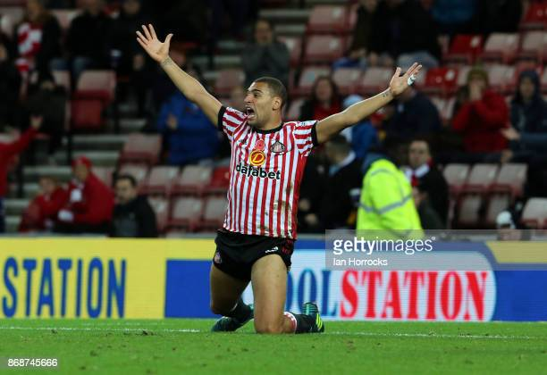 James Vaughn of Sunderland appeals for a penalty during the Sky Bet Championship match between Sunderland and Bolton Wanderers at Stadium of Light on...