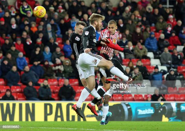 James Vaughn of Sunderland has a header saved by Fulham keeper Marcus Bettinelli during the Sky Bet Championship match between Sunderland and Fulham...