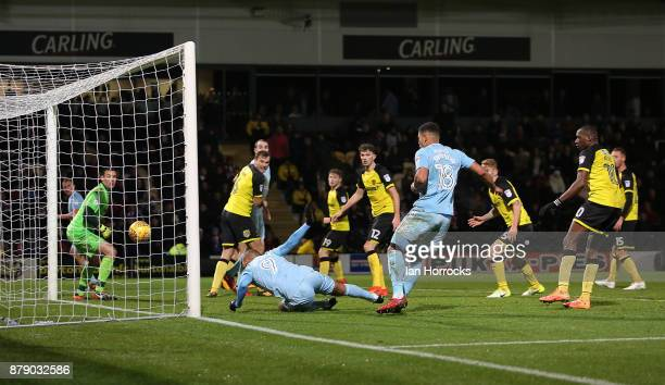 James Vaughn of Sunderland scores the opening goal during the Sky Bet Championship match between Burton Albion and Sunderland at Pirelli Stadium on...