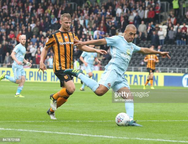 James Vaughn of Sunderland shoots during the Sky Bet Championship match between Hull City and Sunderland at KCOM Stadium on September 16 2017 in Hull...