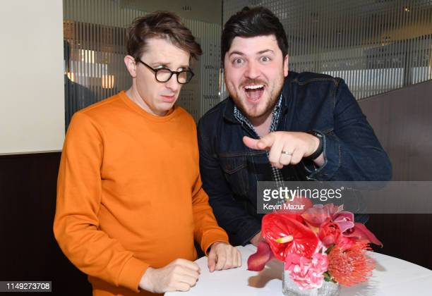 James Veitch of TBS's CONAN and Olan Rogers of TBS's Final Space pose in the WarnerMedia Upfront 2019 green room at Nick and Stef's Steakhouse on May...