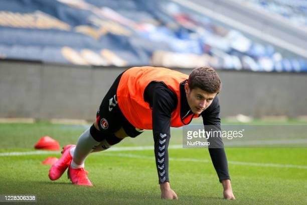 LONDON ENGLAND SEPT James Vennings of Charlton Athletic warming up during the EFL Trophy match between AFC Wimbledon and Charlton Athletic at The...