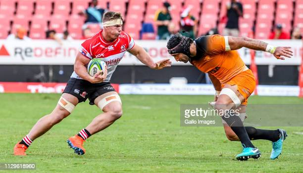 James Venter of the Lions with the ball during the Super Rugby match between Emirates Lions and Jaguares at Emirates Airline Park on March 09 2019 in...