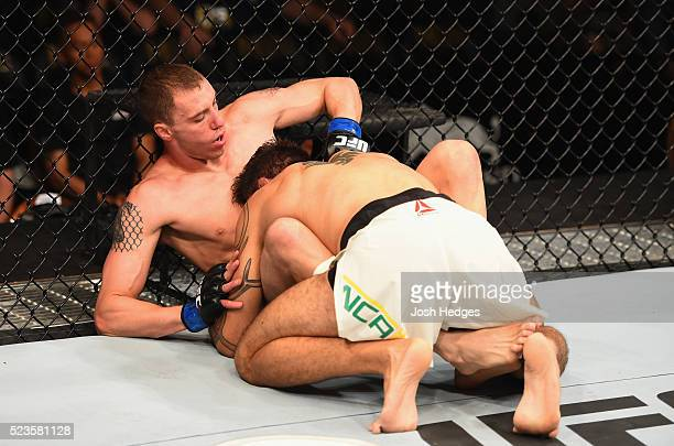 James Vick grapples with Glaico Franca in their lightweight bout during the UFC 197 event inside MGM Grand Garden Arena on April 23 2016 in Las Vegas...
