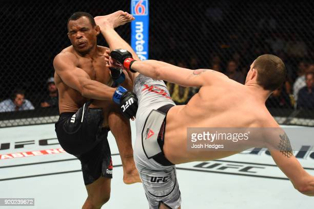 James Vick lands a head kick against Francisco Trinaldo of Brazil in their lightweight bout during the UFC Fight Night event at Frank Erwin Center on...