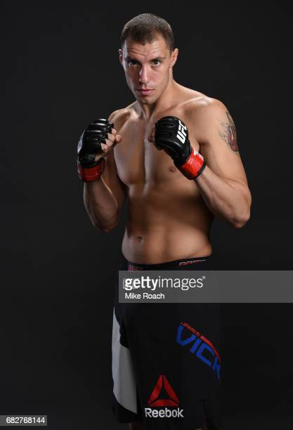 James Vick poses for a post fight portrait with backstage during the UFC 211 event at the American Airlines Center on May 13 2017 in Dallas Texas