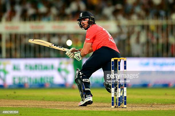 James Vince flicks one off his legs during the 3rd International T20 match between Pakistan and England at Sharjah Cricket Stadium on November 30...