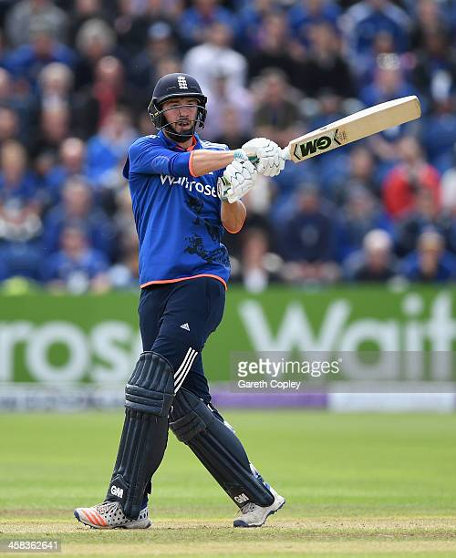 James Vince of England bats during 5th ODI Royal London One Day International match between England and Sri Lanka at SWALEC Stadium on July 2 2016 in...