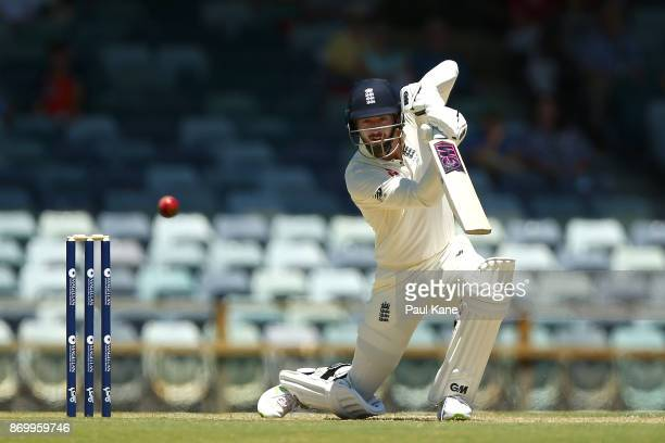 James Vince of England bats during day one of the Ashes series Tour Match between Western Australia XI and England at WACA on November 4 2017 in...