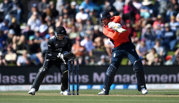 James Vince of England bats during game one of the Twenty20 International series between New Zealand and England at Hagley Oval on November 01 2019...
