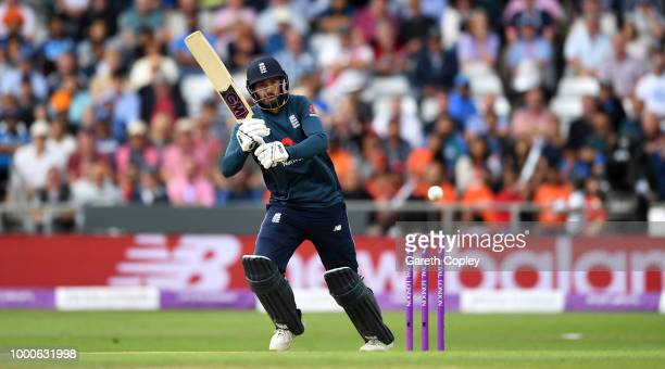 James Vince of England bats during the 3rd Royal London OneDay International match between England and India at Headingley on July 17 2018 in Leeds...