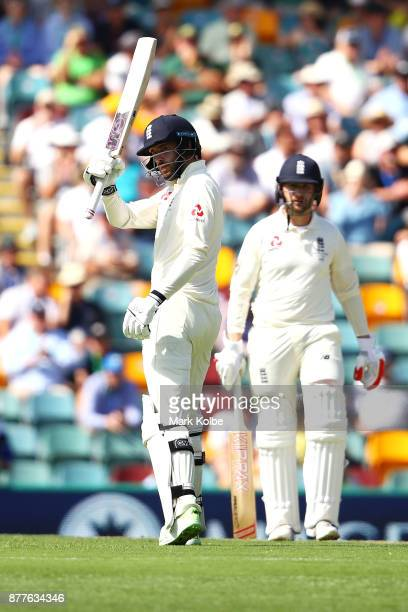 James Vince of England celebrates his half century during day one of the First Test Match of the 2017/18 Ashes Series between Australia and England...