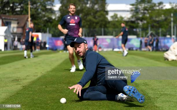 James Vince of England fields the ball during a nets session at Edgbaston on June 28 2019 in Birmingham England