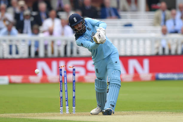 James Vince of England is bowled by Jason Behrendorff of Australia during the Group Stage match of the ICC Cricket World Cup 2019 between England and...