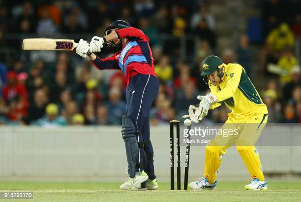 James Vince of England is bowled during the One Day Tour Match between the Prime Minister's XI and England at Manuka Oval on February 2 2018 in...