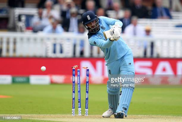James Vince of England is bowled for 0 during the Group Stage match of the ICC Cricket World Cup 2019 between England and Australia at Lords on June...
