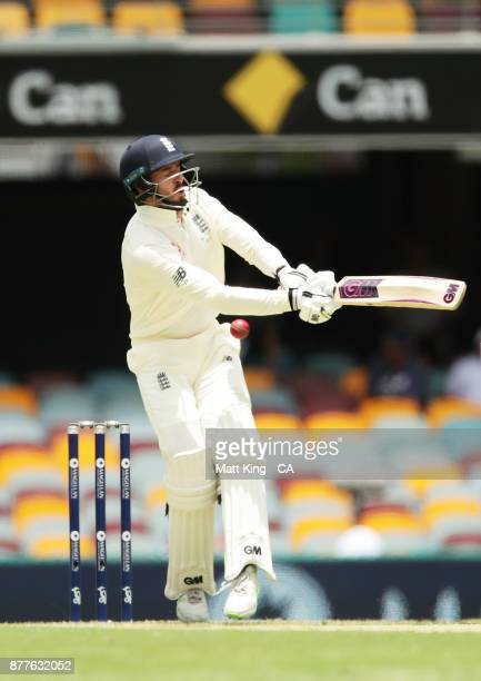 James Vince of England is hit by the ball during day one of the First Test Match of the 2017/18 Ashes Series between Australia and England at The...