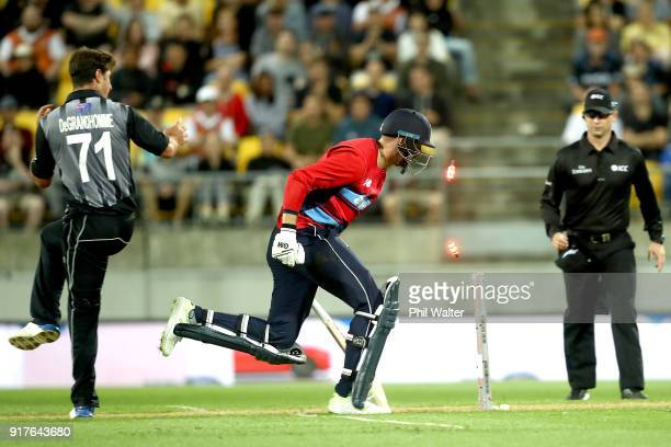 James Vince of England is run out during the International Twenty20 match between New Zealand and England at Westpac Stadium on February 13 2018 in...