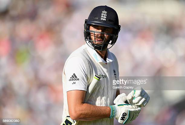 James Vince of England leaves the field after being dismissed by Yasir Shah of Pakistan during day three of the 4th Investec Test between England and...