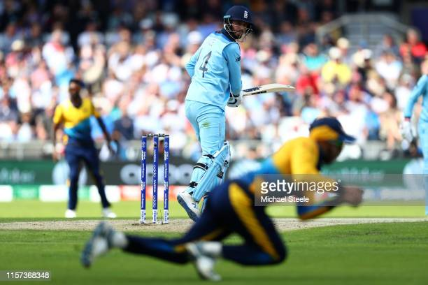 James Vince of England looks back as Kusal Mendis of Sri Lanka takes a catch at slip off the bowling of Lasith Malinga during the Group Stage match...