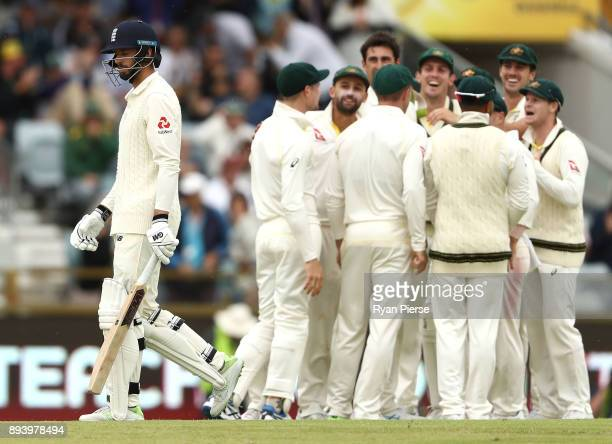 James Vince of England looks dejected after being dismissed by Mitchell Starc of Australia during day four of the Third Test match during the 2017/18...
