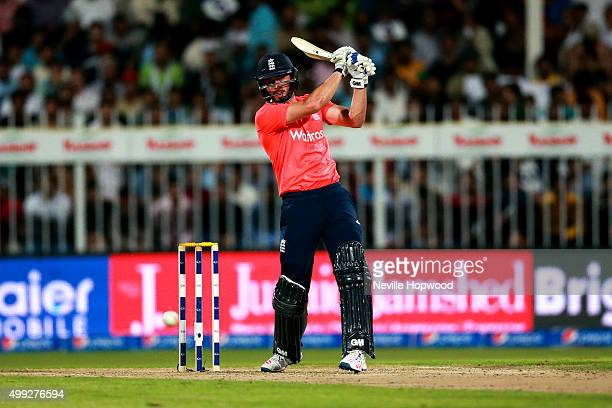 James Vince of England plays through the offside during the 3rd International T20 match between Pakistan and England at Sharjah Cricket Stadium on...