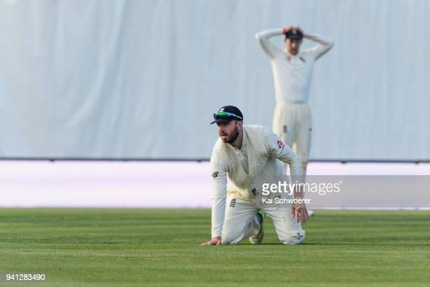 James Vince of England reacts after missing a catch during day five of the Second Test match between New Zealand and England at Hagley Oval on April...